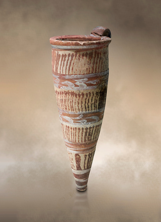 Minoan Thiran conical rhython decorated with vertical bands of wavy lines, Akrotiri, Thira (Santorini) National Archaeological Museum Athens. 17th-16th cent BC. .<br /> <br /> If you prefer to buy from our ALAMY PHOTO LIBRARY  Collection visit : https://www.alamy.com/portfolio/paul-williams-funkystock/minoan-art-artefacts.html . Type -   Athens    - into the LOWER SEARCH WITHIN GALLERY box. Refine search by adding background colour, place, museum etc<br /> <br /> Visit our MINOAN ART PHOTO COLLECTIONS for more photos to download  as wall art prints https://funkystock.photoshelter.com/gallery-collection/Ancient-Minoans-Art-Artefacts-Antiquities-Historic-Places-Pictures-Images-of/C0000ricT2SU_M9w