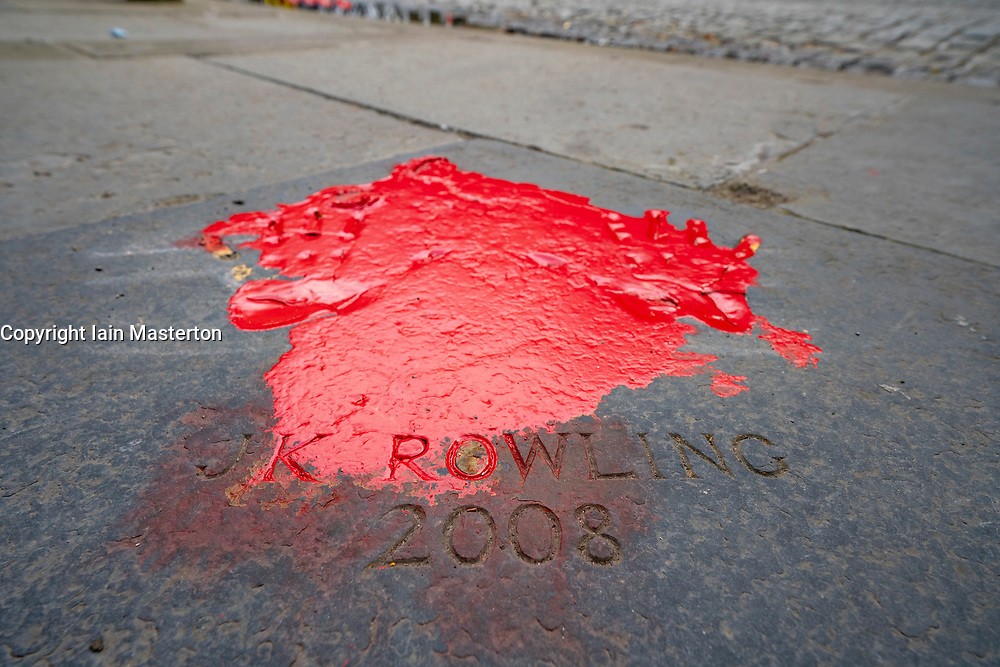 Edinburgh, Scotland, UK. 12 July, 2020. Trans community protestors vandalised JK Rowling handprints with red paint outside City Chambers in Edinburgh city centre.  Iain Masterton/Alamy Live News