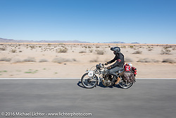 Todd Kraft riding his father Dan's 1913 Thor during the Motorcycle Cannonball Race of the Century. Stage-14 ride from Lake Havasu CIty, AZ to Palm Desert, CA. USA. Saturday September 24, 2016. Photography ©2016 Michael Lichter.
