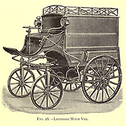design of a Lutzmann Motor Van from the book ' Motor cars; or, Power carriages for common roads ' by Alexander James Wallis-Tayler,  Published in London, by Crosby Lockwood & son 1897