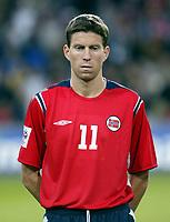 Fotball<br /> VM-kvalifisering<br /> Norge v Hviterussland<br /> Ullevaal stadion<br /> 8. september 2004<br /> Foto: Digitalsport<br /> portrett, portretter<br /> Petter Rudi, Norge