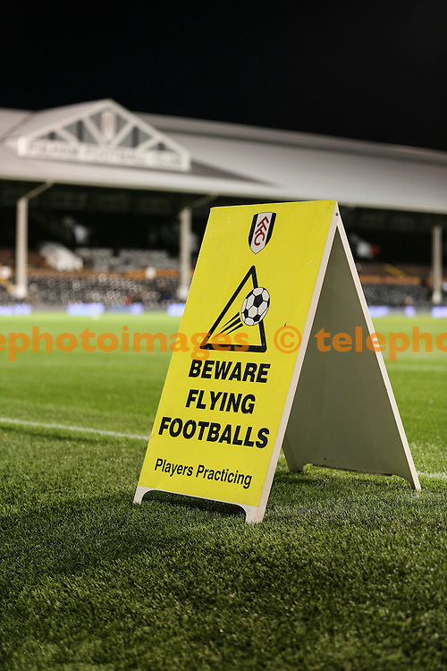 Craven Cottage warning signs before the Sky Bet Championship match between Fulham and Norwich City at Craven Cottage in London. October 18, 2016.<br /> Jack Beard / Telephoto Images<br /> +44 7967 642437