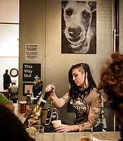 Nicole Geletka hand pulls a cask conditioned ale at MacLeod Ale brewing co in Van Nuys, CA.  November 6, 2015. Photo by David Sprague