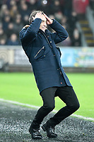 Football - 2017 / 2018 Premier League - Swansea City vs. Tottenham Hotspur<br /> <br /> Swansea City manager Tomas Carvaha holds his head on the touchline as Swansea squander an attack , at The Liberty Stadium.<br /> <br /> COLORSPORT/WINSTON BYNORTH