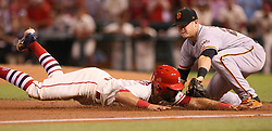 May 20, 2017 - St Louis, MO, USA - St. Louis Cardinals' Matt Carpenter is tagged out by San Francisco Giants third baseman Christian Arroyo while trying to stretch a double into a triple in the bottom of the ninth inning during a game between the St. Louis Cardinals and the San Francisco Giants on Saturday, May 20, 2017, at Busch Stadium in St. Louis. (Credit Image: © Chris Lee/TNS via ZUMA Wire)