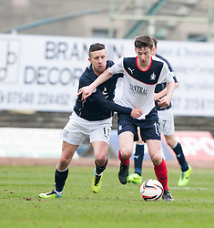 Dundee's Ryan Conroy and Falkirk's Conor McGrandles.<br /> Dundee 0 v 1 Falkirk, Scottish Championship game played today at Dundee's Dens Park.<br /> © Michael Schofield.