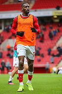 Charlton Athletic forward Omar Bogle (17) warming up prior to the EFL Sky Bet League 1 match between Charlton Athletic and AFC Wimbledon at The Valley, London, England on 12 December 2020.