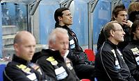 Fotball<br /> Tippeligaen Eliteserien<br /> 13.05.07<br /> Ullevaal Stadion<br /> FC Lyn Oslo - Aalesund AaFK<br /> Matias Almeyda på benken - I forgrunnen trener ne Henning Berg og Per Brogeland<br /> Foto - Kasper Wikestad