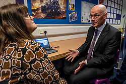Pictured: July Jamison from Education Scotland outlined the on-line access to the project to Mr Swinney<br />