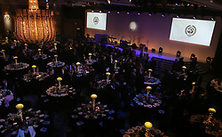 Table arrangement ahead of the 2018 PFA Awards at the Grosvenor House Hotel, London. PRESS ASSOCIATION Photo. Picture date: Sunday April 22, 2018. See PA story SOCCER PFA. Photo credit should read: John Walton/PA Wire