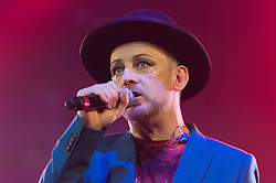 © Licensed to London News Pictures. 12/06/2014. Isle of Wight, UK.   Boy George performing live at Isle of Wight Festival 2014.   Boy George is an English singer-songwriter, real name George Alan O'Dowd, who was the lead singer of the Grammy and Brit Award winning pop band Culture Club.  He was also  part of the English New Romantic movement which emerged in the late 1970's to early 1980's.    The Isle of Wight festival is an annual music festival that takes place on the Isle of Wight. Photo credit : Richard Isaac/LNP