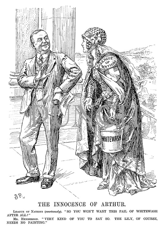 """The Innocence of Arthur. League of Nations (courteously). """"So you won't want this pail of whitewash after all?"""" Mr Henderson. """"Very kind of you to say so. The lily, of course needs no painting."""" (Arthur Henderson holds a Palestine Mandate)"""