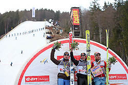 Podium (Janne Ahonen, Gregor Schlierenzauer and Bjoern Einar Romoeren) at e.on Ruhrgas FIS World Cup Ski Jumping on K215 ski flying hill, on March 14, 2008 in Planica, Slovenia . (Photo by Vid Ponikvar / Sportal Images)./ Sportida)
