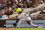 Prince Fielder (28) of the Detroit Tigers scoops up a throw to 1st base during a game against the Minnesota Twins on August 14, 2012 at Target Field in Minneapolis, Minnesota.  The Tigers defeated the Twins 8 to 4.  Photo: Ben Krause