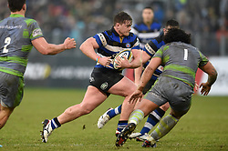 Nick Auterac of Bath Rugby goes on the attack - Mandatory byline: Patrick Khachfe/JMP - 07966 386802 - 27/01/2018 - RUGBY UNION - The Recreation Ground - Bath, England - Bath Rugby v Newcastle Falcons - Anglo-Welsh Cup