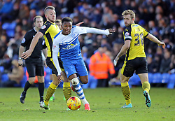 Peterborough United's Kgosi Ntlhe skips past Colchester United's George Moncur - Photo mandatory by-line: Joe Dent/JMP - Mobile: 07966 386802 - 10/01/2015 - SPORT - Football - Peterborough - ABAX Stadium - Peterborough United v Colchester United - Sky Bet League One