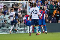 Football - 2021/2022  Premier League - Crystal Palace vs Tottenham Hotspur - Selhurst Park  - Saturday 11th September 2021.<br /> <br /> Christian Benteke (Crystal Palace) hooks his shot towards tye Tottenham goal at Selhurst Park.<br /> <br /> COLORSPORT/DANIEL BEARHAM