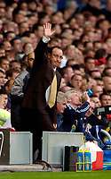 Fotball<br /> England 2004/2005<br /> Foto: SBI/Digitalsport<br /> NORWAY ONLY<br /> <br /> Liverpool v Norwich City, Barclays Premiership, 25/09/2004.<br /> Liverpool manager Rafael Benitez responds to the chants of the crowd after they remain the only team in the Premiership with a 100 per cent home record.