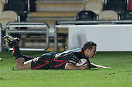 Adam Warren of the Newport Gwent Dragons dives over the line for a try. European Challenge cup pool 3 match, Newport Gwent Dragons v Brive, at Rodney Parade in Newport, South Wales on Friday 14th October 2016.<br /> pic by  Simon Latham, Andrew Orchard sports photography.