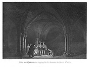 Lilly, the astrologer and Quatremain, the minor canon, digging for treasure in St Faith's under St Paul's. Illustration by John Franklin (active 1800-1861) for William Harrison Ainsworth 'Old Saint Paul's', London 1855 (first published 1841). Engraving.