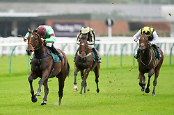 Lyrical Genius ridden by Brian Hughes (left) goes on to win The Dreamland Bedding Open NH Flat Race at Warwick Racecourse. Picture date: Thursday September 30, 2021.