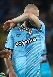 April 19, 2018 - Brugge, BELGIUM - Charleroi's Dorian Dessoleil looks dejected after the Jupiler Pro League match between Club Brugge and Sporting Charleroi, in Brugge, Thursday 19 April 2018, on day four of the Play-Off 1 of the Belgian soccer championship. BELGA PHOTO VIRGINIE LEFOUR (Credit Image: © Virginie Lefour/Belga via ZUMA Press)