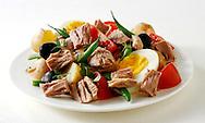 Salad Nicoise, Tuna, egg, French beans and olives salad recipe