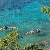 France, Guadeloupe, Les Saintes. Glass bottom kayaking around bay of Les Saintes on Terre-de-Haut island, Guadeloupe.