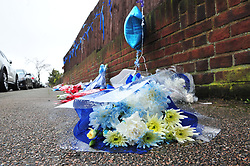 © Licensed to London News Pictures.10/04/2018<br /> HITHER GREEN, UK.<br />  Hither Green Burglary Murder. South Park Crescent,Hither Green.<br /> Flowers and cards for Henry Vincent opposite the home of 78 year old Richard Osborn-Brooks who stabbed a burglar to death in his home.<br /> Photo credit: Grant Falvey/LNP