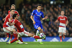 8 May 2017 - Premier League - Chelsea v Middlesbrough - Pedro of Chelsea in action with Fabio and Calum Chambers of Middlesbrough - Photo: Marc Atkins / Offside.