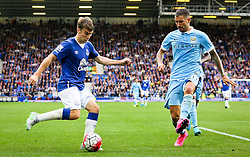 Aleksandar Kolarov of Manchester City attempts to block Everton's Seamus Coleman crossing the ball  - Mandatory byline: Matt McNulty/JMP - 07966386802 - 23/08/2015 - FOOTBALL - Goodison Park -Everton,England - Everton v Manchester City - Barclays Premier League