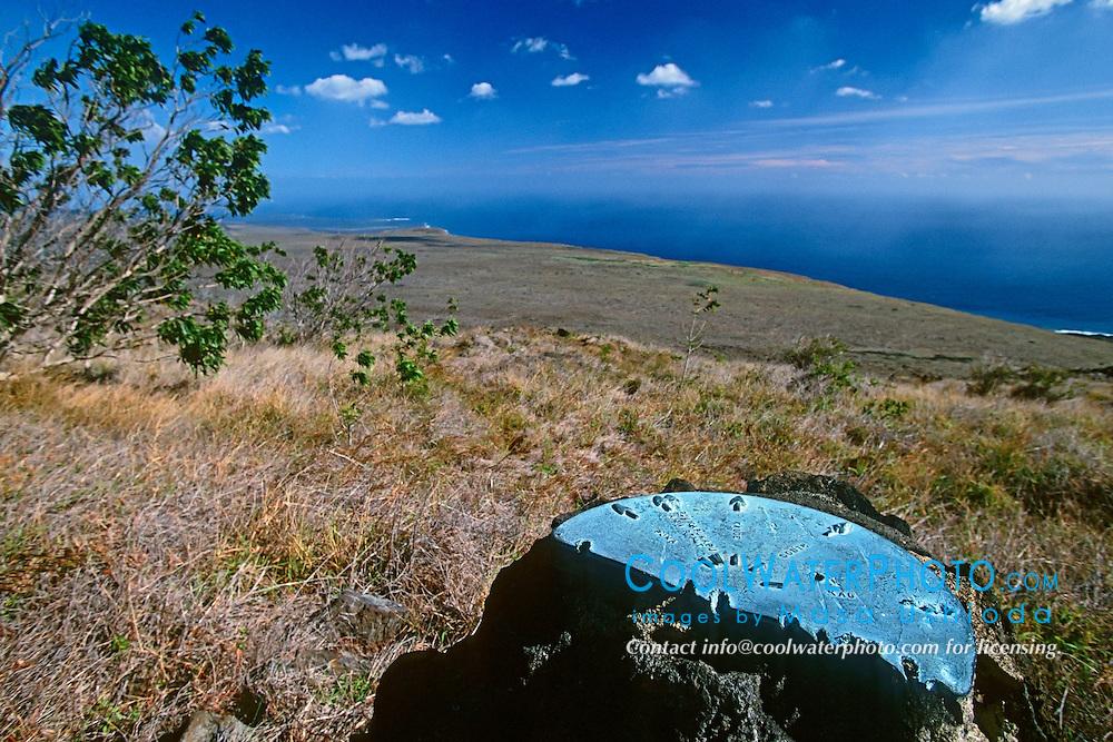 Place Name Pointer Monument, Hilina Pali Overlook, Hawaii Volcanoes National Park, Big Island, Hawaii