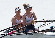 Poznan. Poland. GBR LW2X, Bow. Charlotte TAYLOR and Kat COPELAND, share a light hearted moment at the start before the heat at the FISA 2015 European Rowing Championships. Venue Lake Malta. 29.05.2015. [Mandatory Credit: Peter Spurrier/Intersport-images.com]