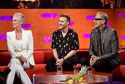 (Left to right) Jamie Lee Curtis, Gary Barlow, and Jeff Goldblum during the filming of the Graham Norton Show at BBC Studioworks 6 Television Centre, Wood Lane, London, to be aired on BBC One on Friday evening.
