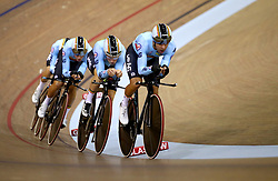 Belgium Men Team Pursuit led by Kenny De Ketele in qualifying during day one of the 2018 European Championships at the Sir Chris Hoy Velodrome, Glasgow. PRESS ASSOCIATION Photo. Picture date: Thursday August 2, 2018. See PA story SPORT European. Photo credit should read: John Walton/PA Wire. RESTRICTIONS: Editorial use only, no commercial use without prior permissionduring day one of the 2018 European Championships at the Sir Chris Hoy Velodrome, Glasgow. PRESS ASSOCIATION Photo. Picture date: Thursday August 2, 2018. See PA story SPORT European. Photo credit should read: John Walton/PA Wire. RESTRICTIONS: Editorial use only, no commercial use without prior permission