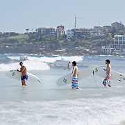 Sufers waiting for the waves in Bondi Beach