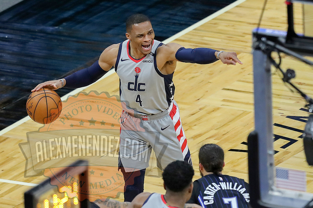 ORLANDO, FL - APRIL 07: Russell Westbrook #4 of the Washington Wizards screams directions against the Orlando Magic during the second half at Amway Center on April 7, 2021 in Orlando, Florida. NOTE TO USER: User expressly acknowledges and agrees that, by downloading and or using this photograph, User is consenting to the terms and conditions of the Getty Images License Agreement. (Photo by Alex Menendez/Getty Images)*** Local Caption *** Russell Westbrook