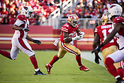 San Francisco 49ers running back Carlos Hyde (28) carries the ball against the Arizona Cardinals at Levi's Stadium in Santa Clara, Calif., on November 5, 2017. (Stan Olszewski/Special to S.F. Examiner)