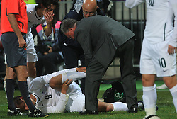 Zlatan Ljubijankic (9) injured in last minute at the fourth round qualification game of 2010 FIFA WORLD CUP SOUTH AFRICA in Group 3 between Slovenia and Northern Ireland at Stadion Ljudski vrt, on October 11, 2008, in Maribor, Slovenia.  (Photo by Vid Ponikvar / Sportal Images)