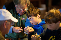 Campers learning to to tie flies during Vermont TU's inagural Trout Camp, 2011