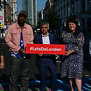 Photographer Rankin, Artist Yinka Ilori and The Mayor of London, Sadiq Khan attended Let's Do London Autumn culture season with spectacular public street art installations to unveil Bring London Together – a spectacular new public art commission transforming 18 pedestrian crossings with distinctive playful designs using a bright colour pallet and bold forms. The 'Bring London Together'  at Tottenham Court Road on 2021-09-16 London, UK.