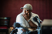 MILWAUKEE, WI -- 8/11/15 -- Sherwin Hughes, 40, is host of The Forum, a community and political talk show on WNOV, Milwaukee's urban talk station. The Milwaukee Police Department is under scrutiny for aggressive policing after a series of officer involved shootings, slow response times and illegal strip searches. Police Chief Ed Flynn has made enemies of community leaders, the police union, and conservative groups…by André Chung #_AC12847