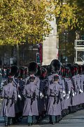 Guardsmen and Gurkhas arrive at the Cenotaph - Remembrance Sunday and Armistice Day commemorations fall on the same day, remembering the fallen of all conflicts but particularly the centenary of the end of World War One.