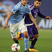 Federico Bravo, NYCFC, in action during the New York City FC Vs Orlando City, MSL regular season football match at Yankee Stadium, The Bronx, New York,  USA. 18th March 2016. Photo Tim Clayton