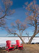 The icy shores of Clear Lake in Riding Mountain National Park, Manitoba, Canada on a bright sunny winter's day.