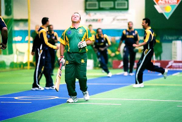 Sri Lanka celebrate the wicket of Ensten Steyn (South Africa). 2002 Indoor Cricket World Masters Championships, Christchurch, New Zealand