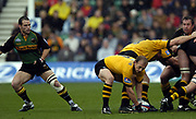 Northampton, Northamptonshire, 2nd October 2004 Northampton Saints vs London Wasps, Zurich Premiership Rugby, Franklyn Gardens, [Mandatory Credit: Peter Spurrier/Intersport Images],<br /> Wasps Matt Dawson collects the ball from the base of the scrum, as [left] Mark Robinson covers.<br /> email images@intersport-images.com
