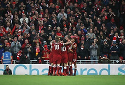 Mohamed Salah of Liverpool (Hidden) celebrates after scoring his sides first goal - Mandatory by-line: Jack Phillips/JMP - 18/11/2017 - FOOTBALL - Anfield - Liverpool, England - Liverpool v Southampton - English Premier League