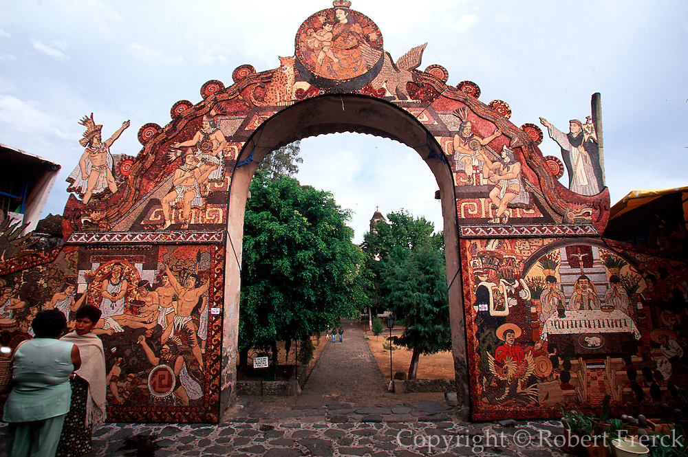 MEXICO, COLONIAL CITIES Tepoztlan: market gate with mosaics