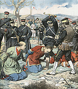 Russo-Japanese War 1904-1905: Incident reported by war correspondent in Moukden. Japanese beheading Chinese functionaries suspected of Russian sympathies. From 'Le Petit Journal', Paris,  23 April 1905.